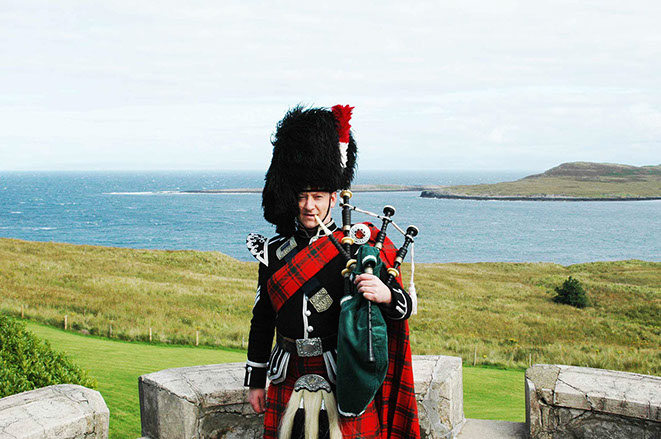 The Skye Piper playing at a funeral on the Isle of Skye
